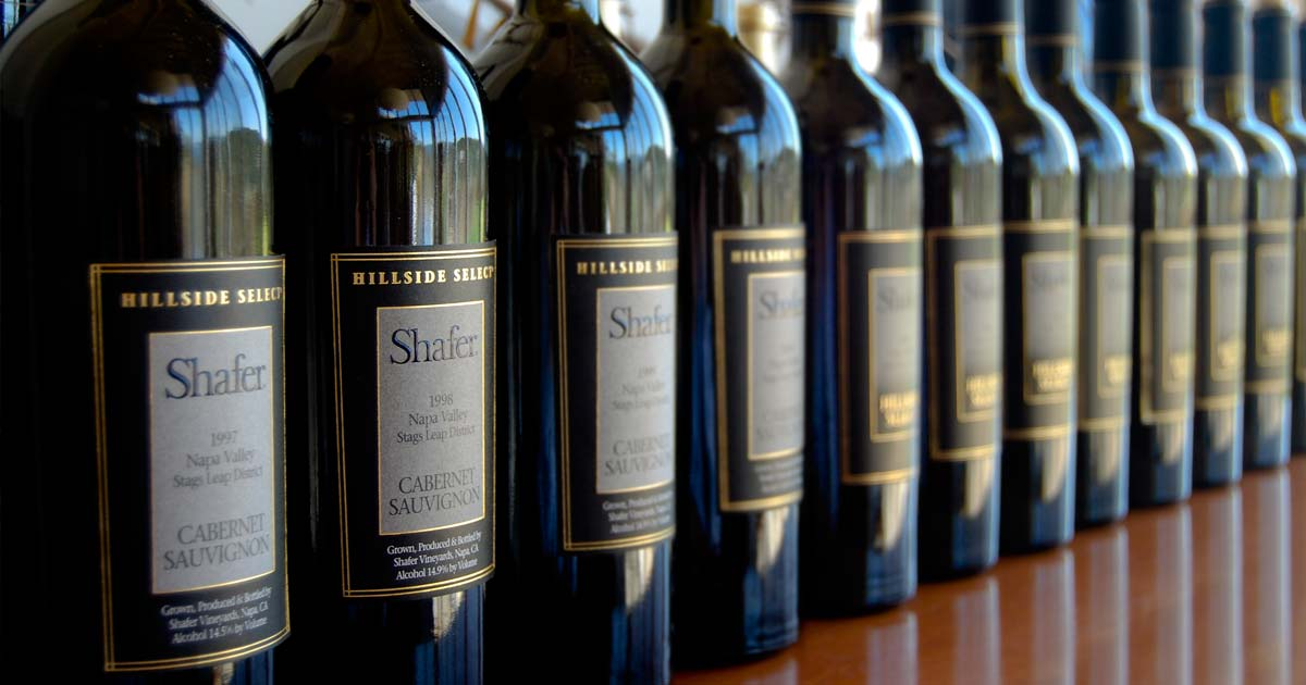 Shafer wine bottles in a row