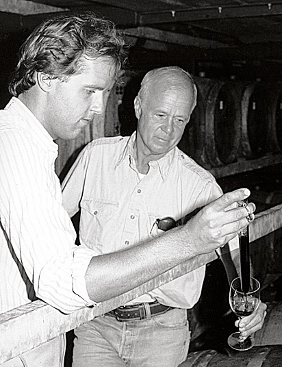 Doug and John Shafer checking wine
